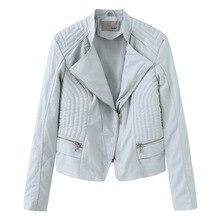 цены на NXH faux leather jackets women Turn-down Collar moto biker jacket plus size women coat spring autumn fashion streetwear skyblue  в интернет-магазинах