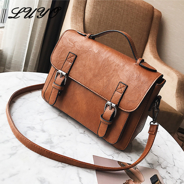 LUYO Solid Color Vintage Postman Leather Women Messenger Bags Girl Shoulder  Bags Female For Bag Designer f42df56d06108