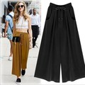 S-5XL Plus Size Women Casual Summer Palazzo Chiffon Pants Career Wide Leg Trousers Loose Pants Black Yellow Green Wholesale