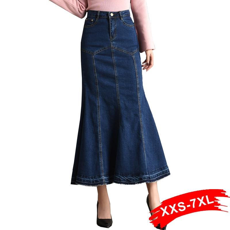30b8d5882 Faldas largas de mezclilla acampanadas talla grande 3Xl 5Xl 7Xl verano  Bodycon sirena Jeans falda ...