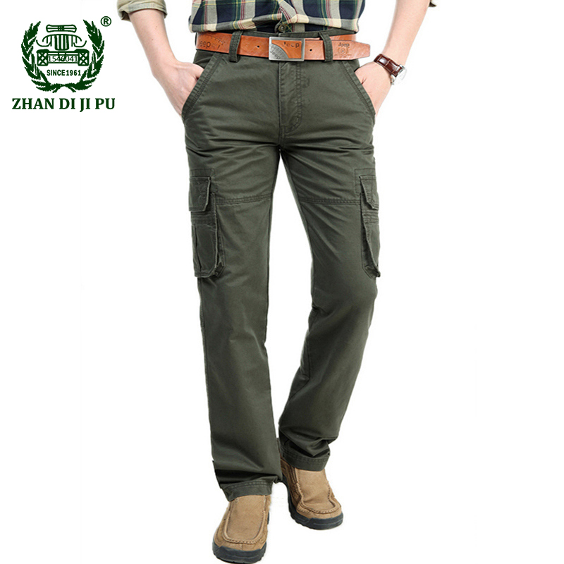 2018 Spring men's big pocket overalls casual brand straight pants 100% cotton military afs jeep pant autumn man army trousers afs jeep new men cargo pants autumn winter overall loose straight more pocket jeans fashion casual man trousers bottoms
