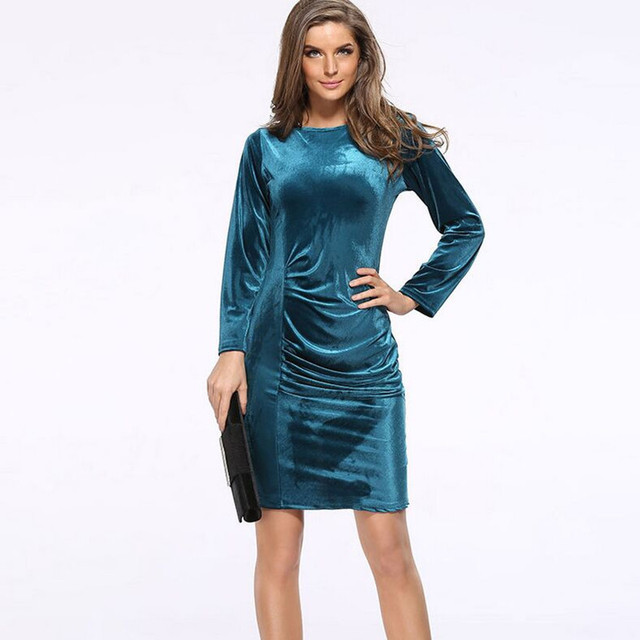 S 3XL Plus Size Gold Velvet Pencil Dress Office Ladies Round Neck ...