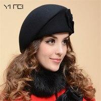 YIFEI 2017 New Fashion Women Beret Hat For Women Beanie Female Cap Flower French Trilby Wool