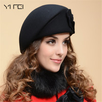 YIFEI 2018 New Fashion Women Beret Hat For Women Beanie Female Cap Flower French Trilby Wool