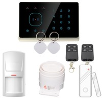 Touch Screen 433MHZ RFID Wireless Home GSM Alarm System Support Android Ios App Remote Control (Black)