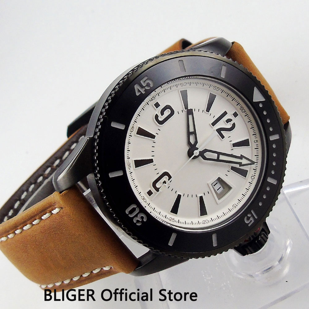 BLIGER 43MM White Sterile Dial Black PVD Coated Case Luminous Marks MIYOTA Automatic Movement Men's Wrist Watch Leather Band B13