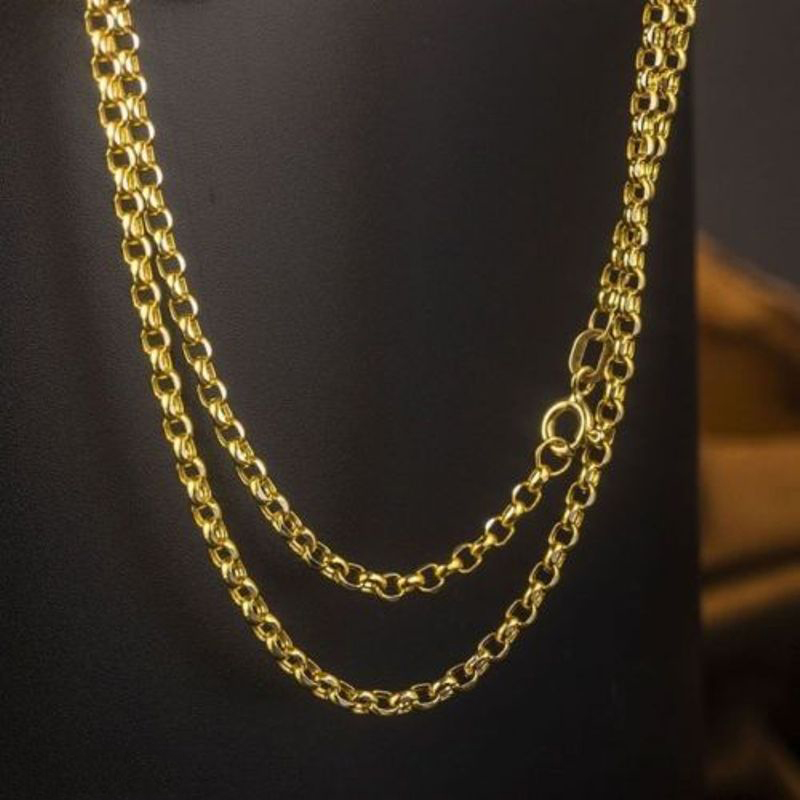 18K Solid Gold Rolo Chain Necklace Men Women 16