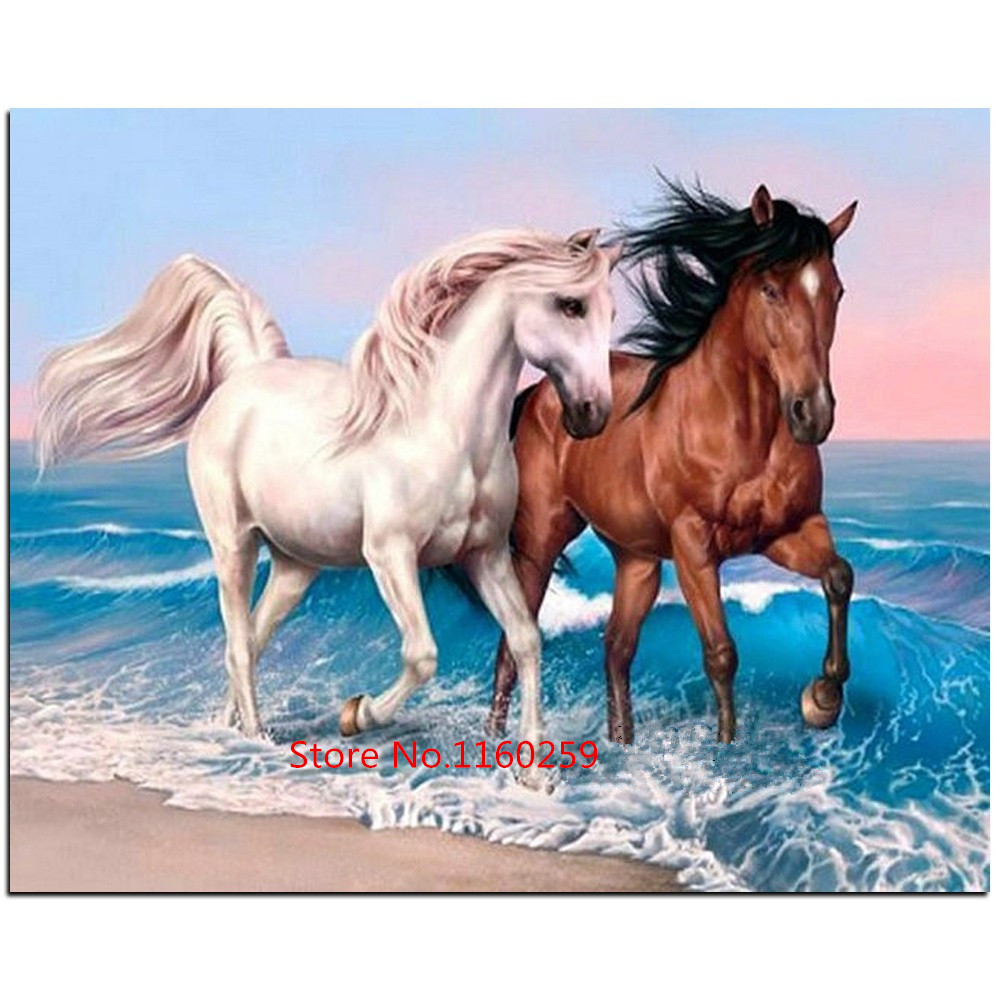 Two Horse 5D Diamond DIY Embroidery Painting Cross Stitch Craft Kit Home Decor