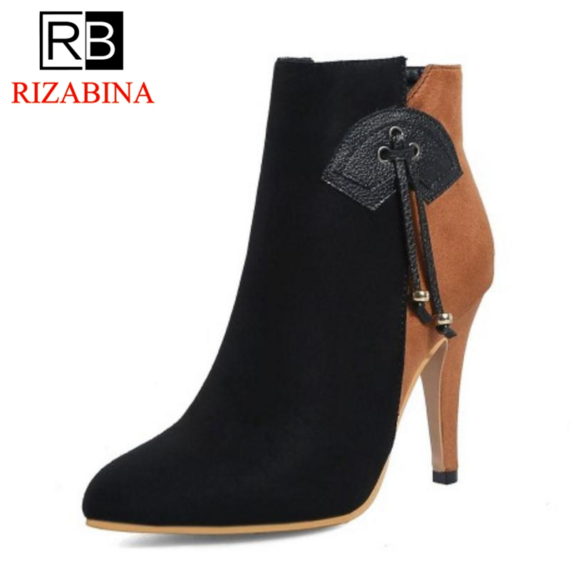 RIZABINA Winter Shoes Ankle-Boots High-Heels Mixed-Color Sexy Plus-Size Women 28-52 Zip