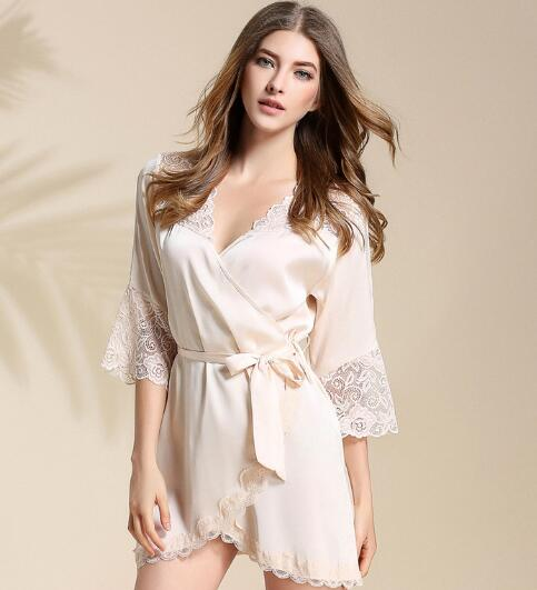 7835da4a1445a Sexy Bridesmaid Short Satin Bride Robe Lace Kimono Women Wedding Sleepwear  Summer Female Bathrobe Lingerie Clothes