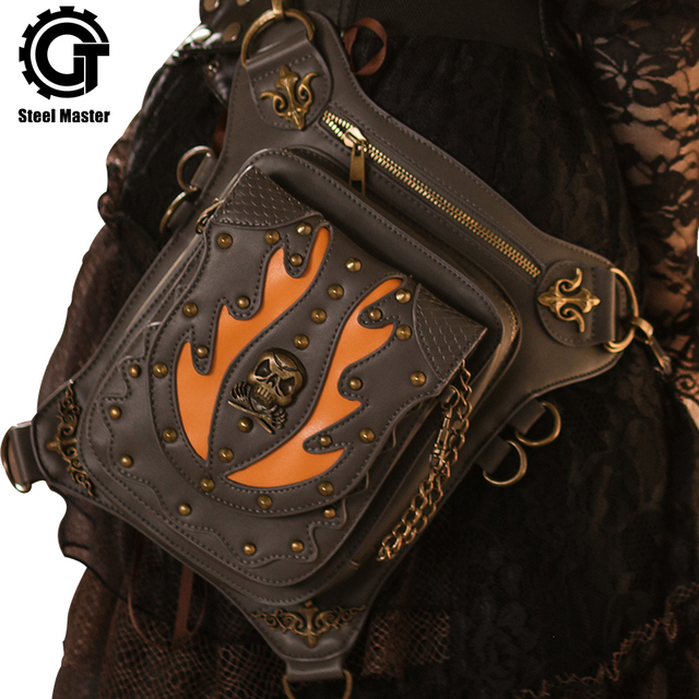 bc144ceea913 Fire Skull Waist Bags New Design Steam Punk Retro Motorcycle Rivets Thigh Bag  Gothic Fanny Pack
