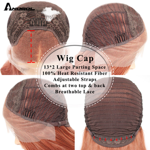 Image 5 - ANOGOL Auburn Orange Synthetic Lace Front Wig Long Straight Middle Part Copper Red Heat Resistant Wig for Women