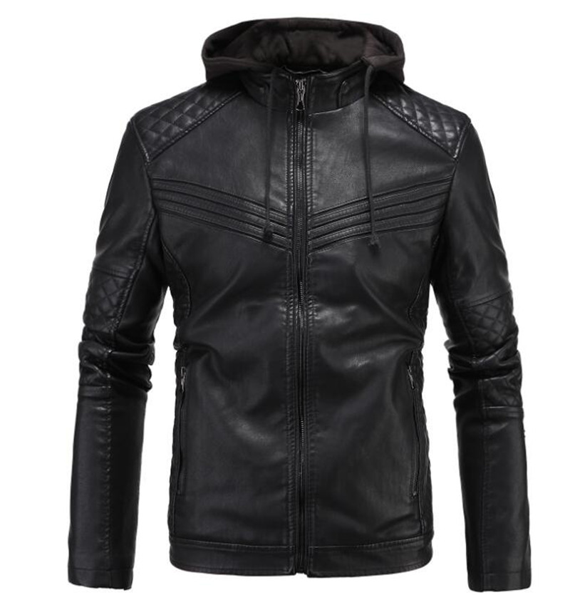 New Retro Vintage Motorcycle Jacket Mens PU Leather Jackets With Hooded Slim Fit Jackets Biker Clasic Quilted Coats Clothes slim fit zipper front mens jacket