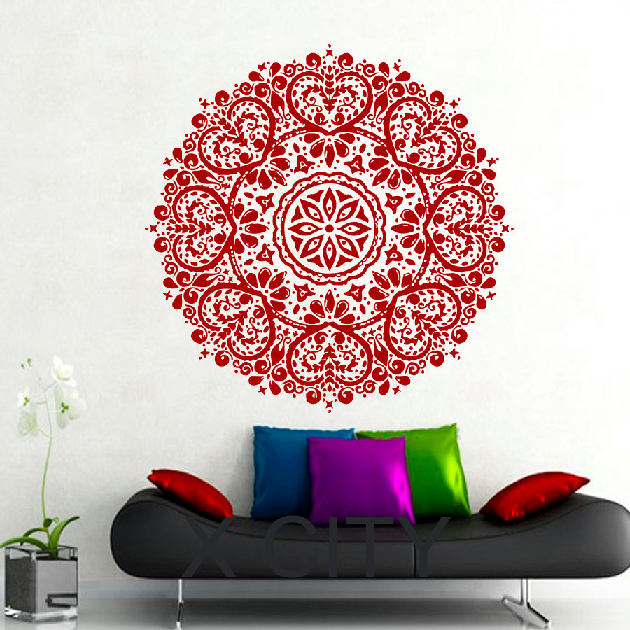 Wall Decals Mandala Indian Pattern Yoga Oum Om Sign Decal Vinyl Sticker Home GYM Office Decor Art Murals Bedroom Studio Window