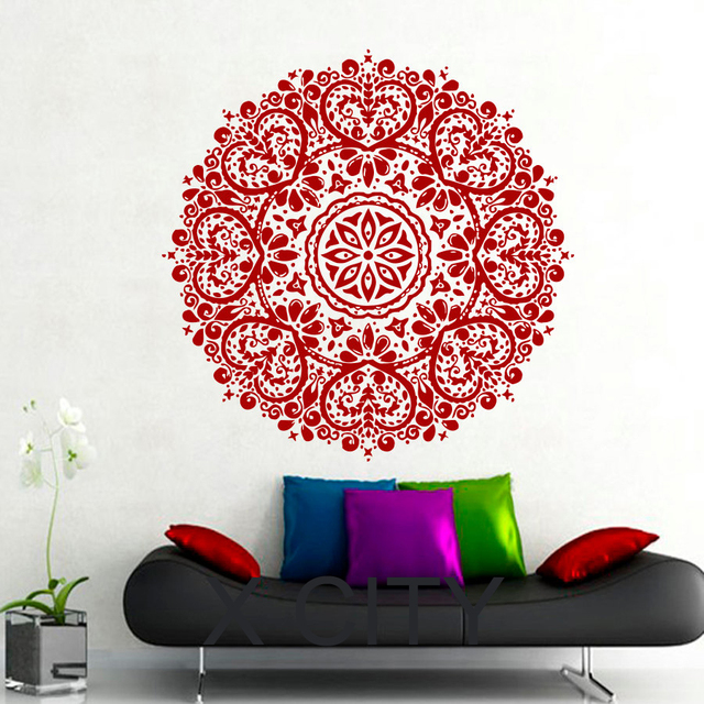 Wall Decals Mandala Indian Pattern Yoga Oum Om Sign Decal