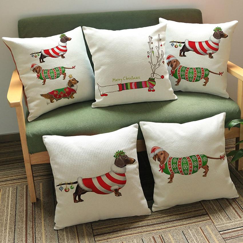 Home, Furniture & DIY Home Decor 18'' Dachshund Printed Christmas Linen Cushion Cover Pillowcase Sofa Car Decor