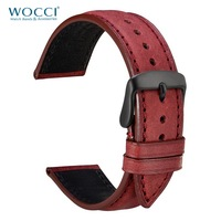 WOCCI Red Watch Strap with Stitching 18mm 20mm 22mm Watchbands Genuine Cowhide Leather Watch Strap for Men Women on Wrist Belt