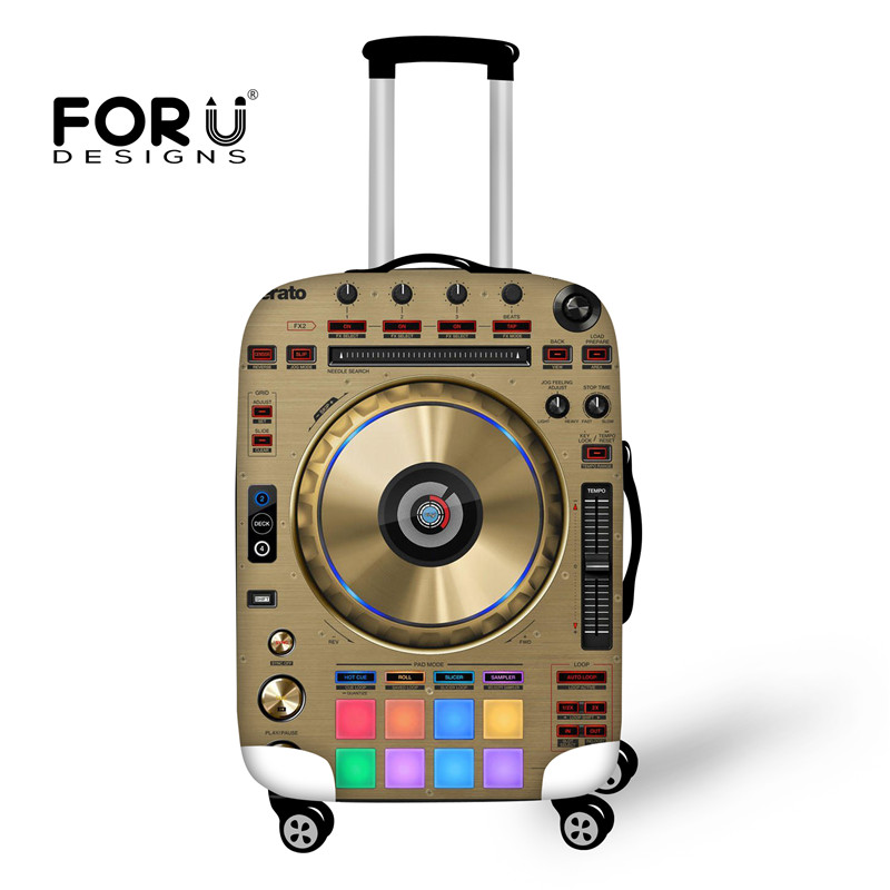 FORUDESIGNS Sound Music Print Suitcase Protective Cover,Stretch Elastic Luggage Covers f ...