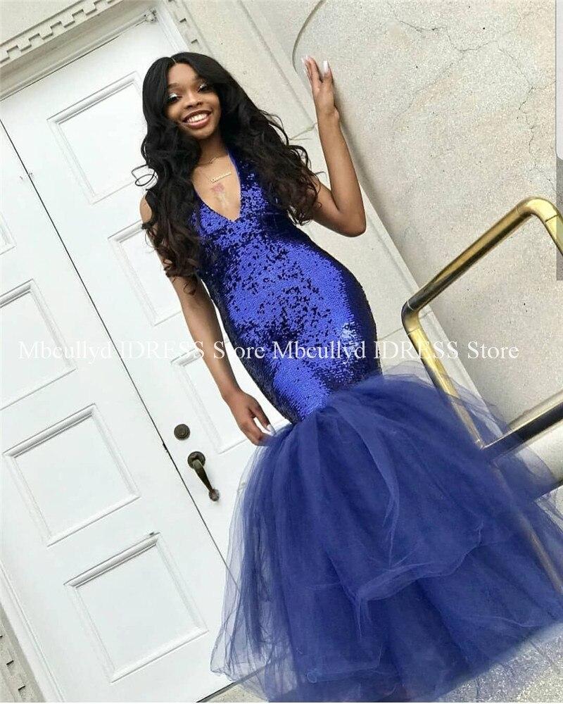 Royal Blue Mermaid   Prom     Dresses   2019 Elegant African Black Girl V Neck Sequined Tulle Backless Long Party   Prom     Dress   Cheap Sale