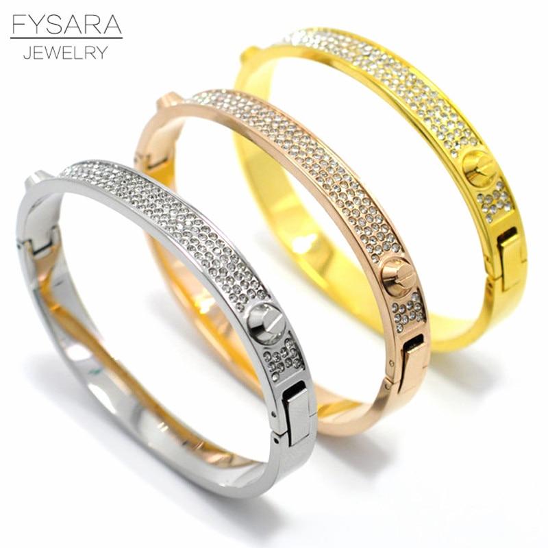 FYSARA Luxury Brand Full Crystals Bangle Titanium Steel Gold Rivet Screw Bangles & Bracelets For Women Men Love Nail Pulseiras