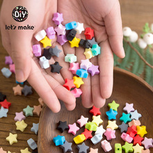 Lets Make Baby Teether 10pc 14mm Rodent Silicone Little Star Shape Beads Sensory Activity Rattle Toys Nurse Accessories