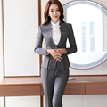 Metal decoration V-Neck Collar Two Piece Formal Pant Suit Office Uniform Designs Gray Women Business Suits Lady For Work Wear
