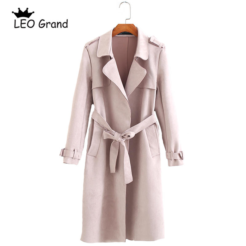 Vee Top women Pink Khaki coat turn down collar bow tie sashes outwear pockets elegant long   Trench   910064