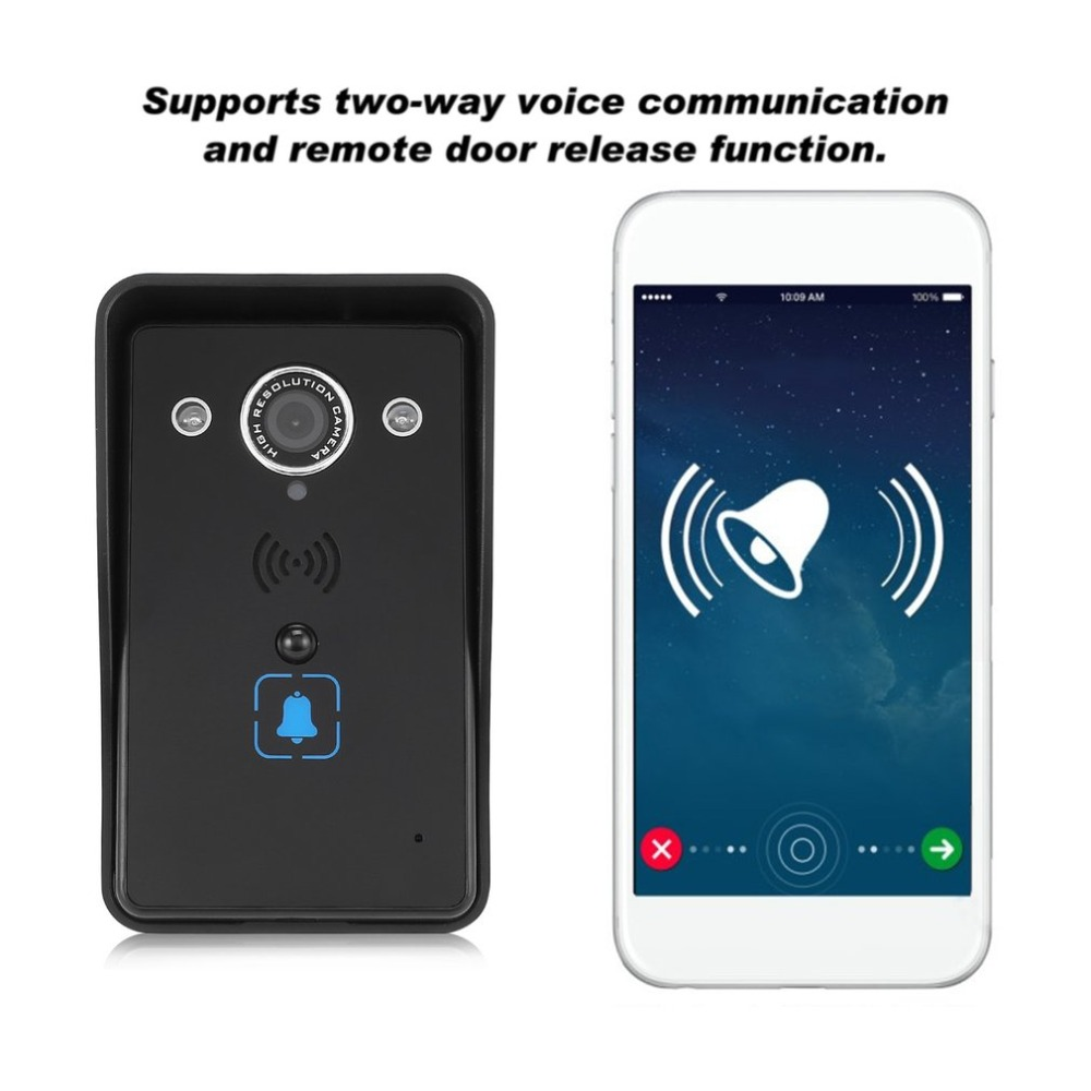 LESHP WIFI Video Doorbell 1280P HD Waterproof Wireless Audio Video Intercom 120 Degree Angle Camera Night Vision Remote Control kinco wifi remote control night vision video doorbell hd waterproof dtmf motion detection alarm smart home for smartphone