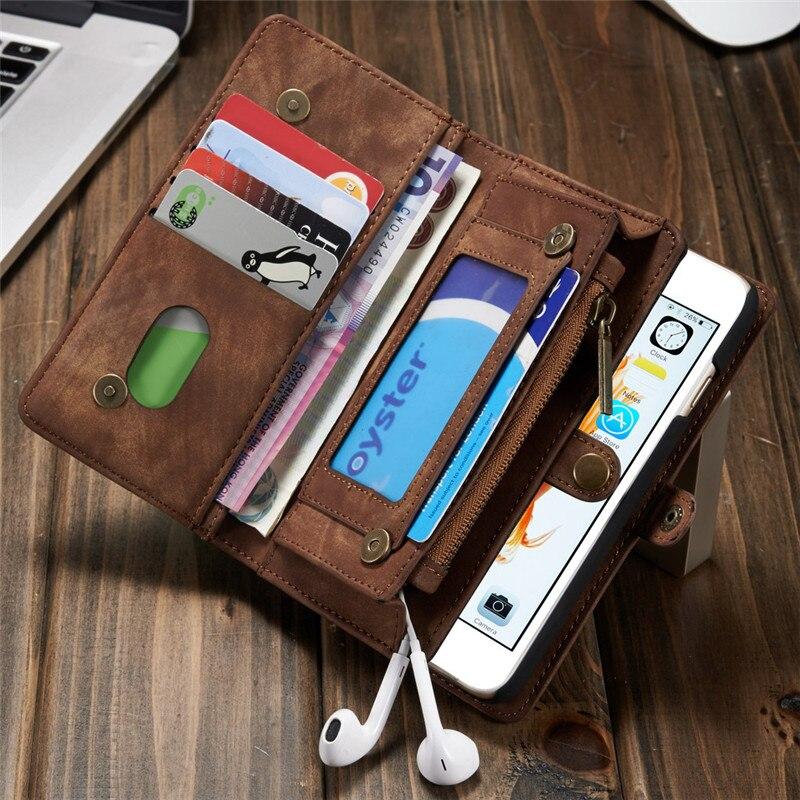 Caseme для iPhone 6 S чехол бумажник Пояса из натуральной кожи вьетнамки телефон сумка на молнии для iPhone 6 6 S плюс съемная Магнитная крышка Слота