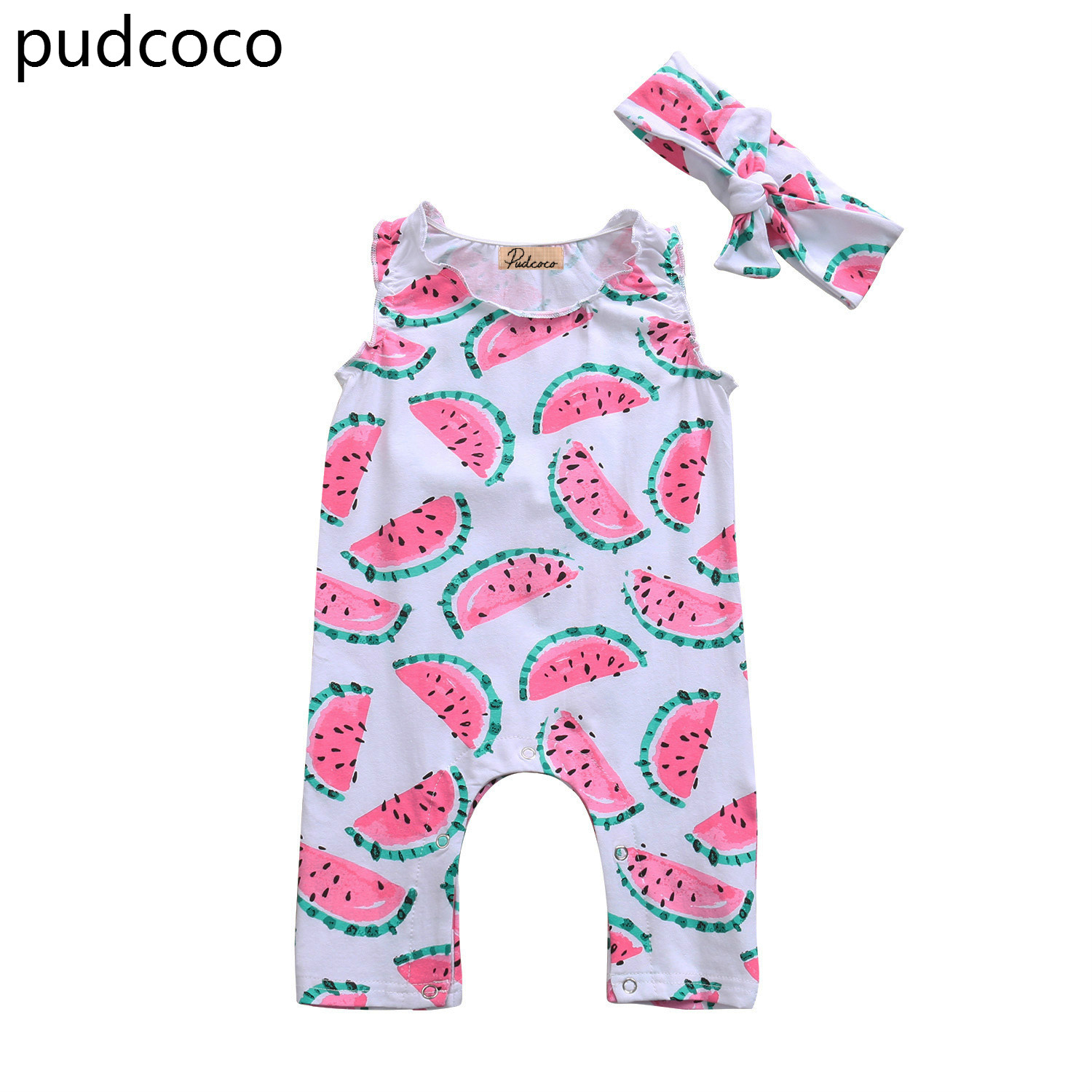 Lovely Toddler Baby Girls Watermelon Rompers Sleeveless Summer Romper Jumpsuit Headband Cotton Outfits Clothes 2017 summer toddler kids girls striped baby romper off shoulder flare sleeve cotton clothes jumpsuit outfits sunsuit 0 4t