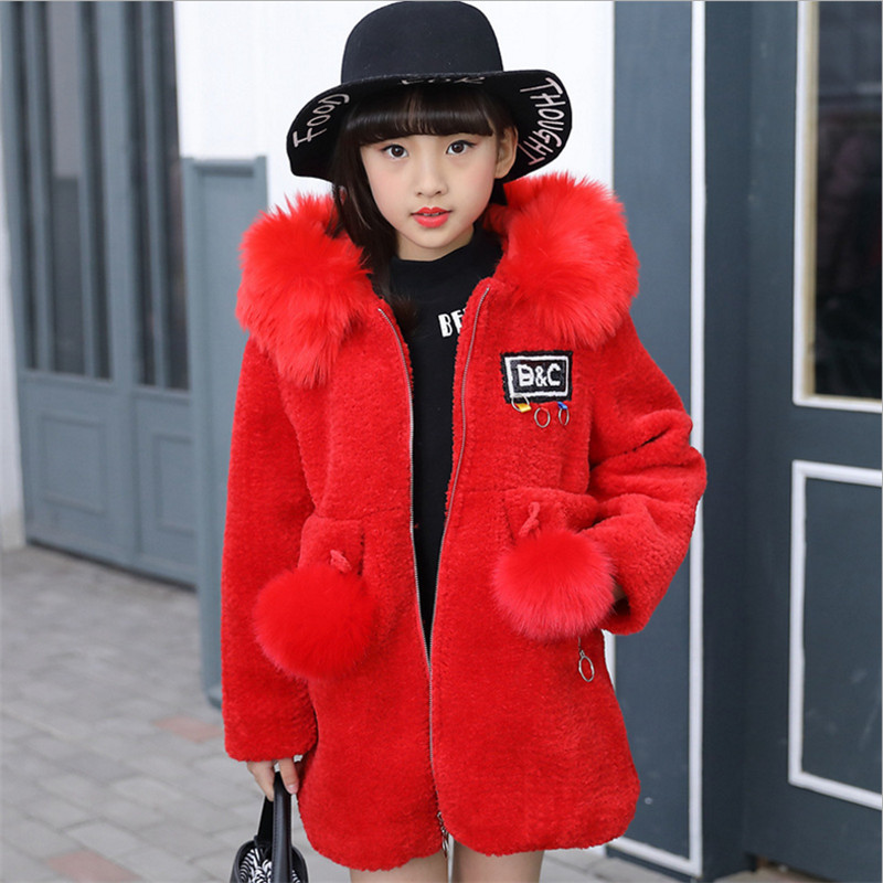 Girls Winter Coat Faux Fur Coat Jacket 2017 New Fashion Children Girl's Plus Cotton Alpaca Velvet Outwear 120-160 3 Colors