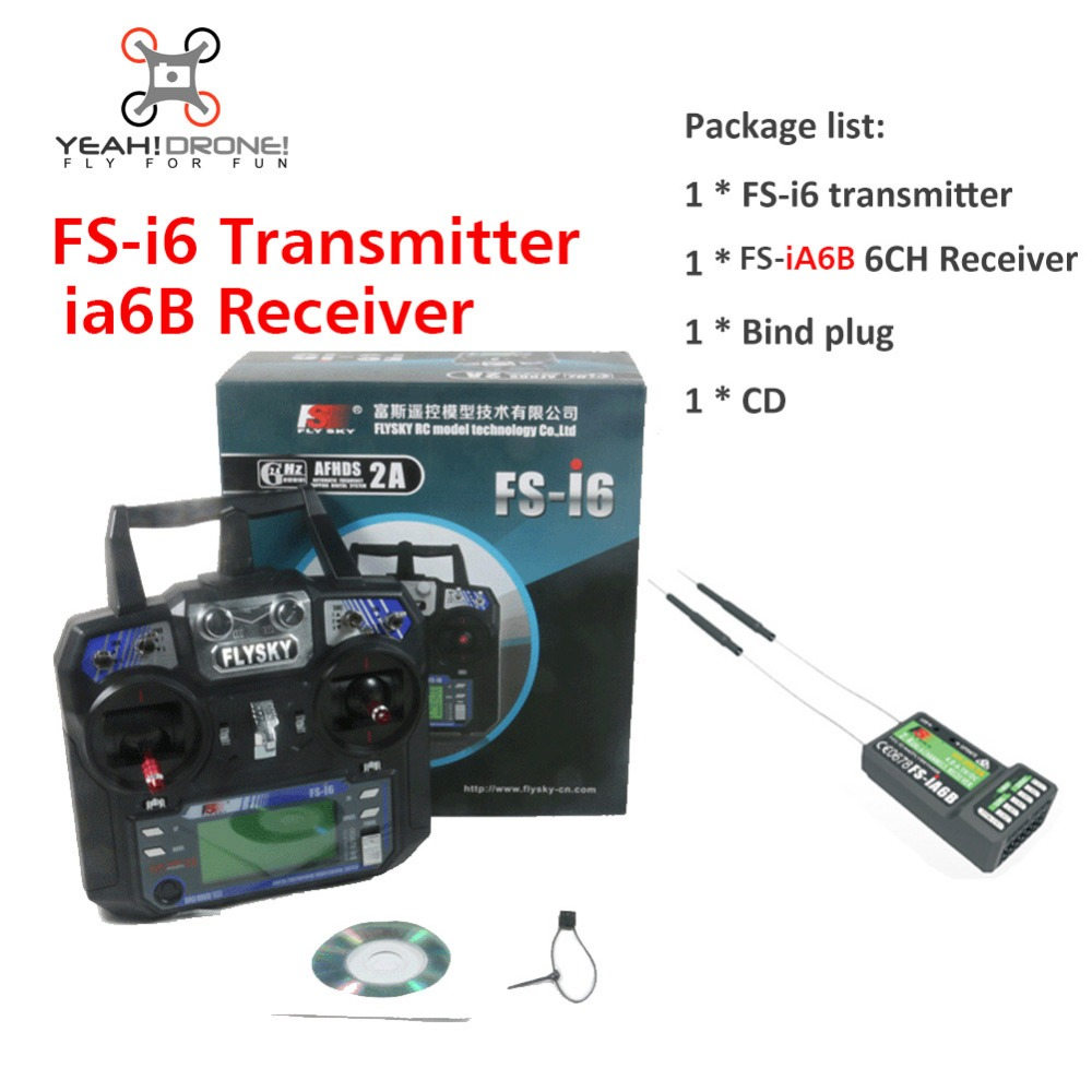 Flysky FS i6 Transimitter  iA6b Receiver FS-i6 2A 2.4GHz 6CH RC Transmitter Controller for RC Quadcopter Helicopter Glider FPV flysky 2 4g 6ch channel fs t6 transmitter receiver radio system remote controller mode1 2 lcd w rx rc helicopter multirotor