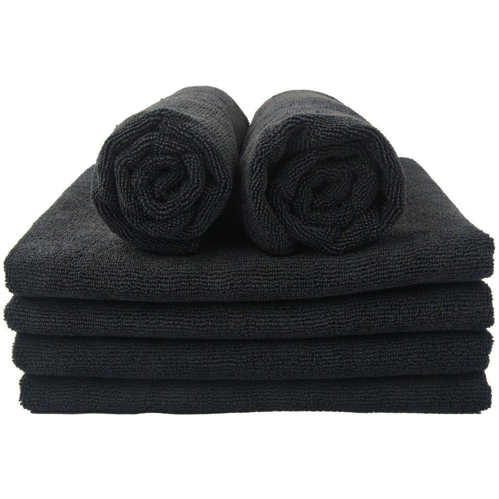 24  black microfiber towels cleaning cloths bulk 16x27 hand towels detailing