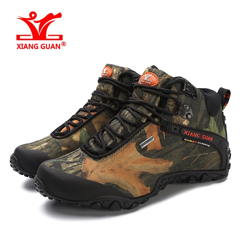 XIANG GUAN unisex men male/women Tactical shoes Outdoor Hiking Camouflage Shoes Waterproof Breathable Climbing Sneakers Boots hot ladies camo lace up high top sport travel outdoor sneakers waterproof breathable mesh tactical climbing hiking shoes women