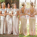 Badgley mischka lantejoula cowl voltar vestidos dama de honra bainha champagne ouro rosa maid of honor casamento fábrica custom made