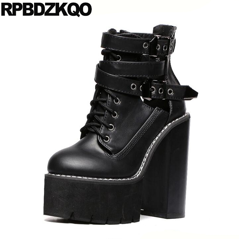 31bf0da5c7 Fall Shoes Rock White Booties Extreme Belts Chunky Black High Heel Ankle  Lace Up Women Zipper 15cm Gothic Platform Boots Punk