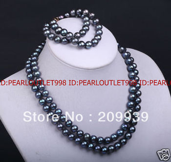huij 002105 9.5MM GENUINE BLACK PEARL NECKLACE & BRACELET SET