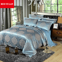 4pcs jacquard bedding set satin bed linen/bedclothes queen king size including duvet cover bed sheet pillowcases