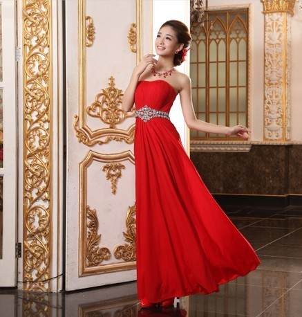 Free shipping2013 bride dress red tube top toadyisms married formal dress summer long design fashion evening dress