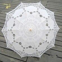 Модный зонтик от солнца, хлопковый Вышитый свадебный зонтик, белый, слоновая кость, Баттенбург, кружевной зонтик, Свадебный зонтик, украшения