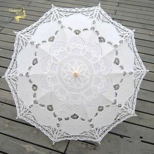 الأزياء مظلة واقية من الشمس القطن التطريز الزفاف مظلة الأبيض العاج Battenburg الدانتيل مظلة واقية من الشمس شمسية زفاف زينة