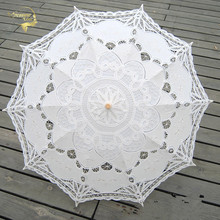 Fashion Sun Umbrella Cotton Embroidery Bridal Umbrella White Ivory Battenburg Lace Parasol Umbrella Wedding Umbrella Decorations(China)
