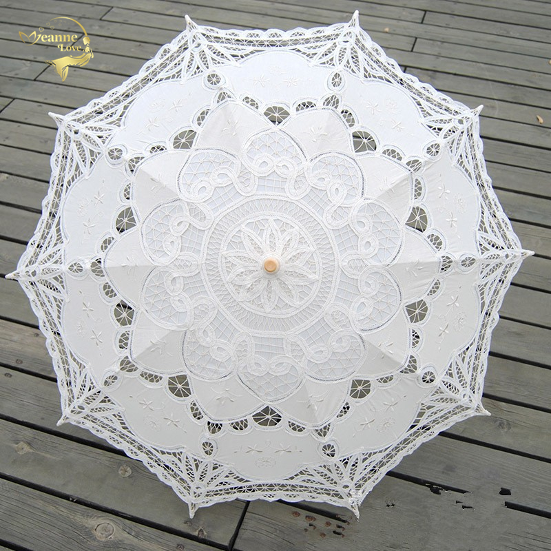 Fashion Sun Umbrella Cotton Embroidery Bridal Umbrella White Ivory Battenburg Lace Parasol Umbrella Wedding Umbrella Decorations
