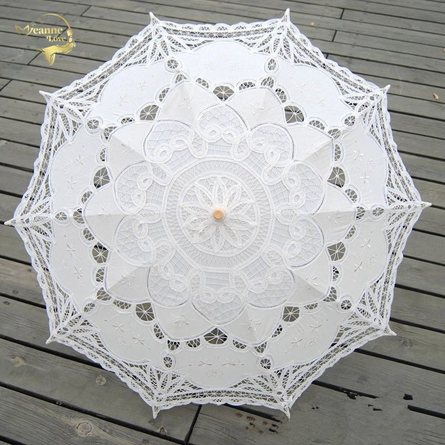 Fashion Sun Umbrella Cotton Embroidery Bride White Ivory Battenburg Lace Parasol Wedding Decorations