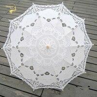 Moda Ombrellone Cotone da Ricamo Sposa Ombrello Bianco Avorio Battenburg Lace Ombrello Parasole Wedding Ombrello Decorazioni