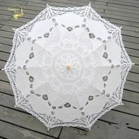 Fashion Lace Umbrella Cotton Embroidery Bride Umbrella White Ivory Battenburg Lace Parasol Umbrella Wedding Umbrella Decorations