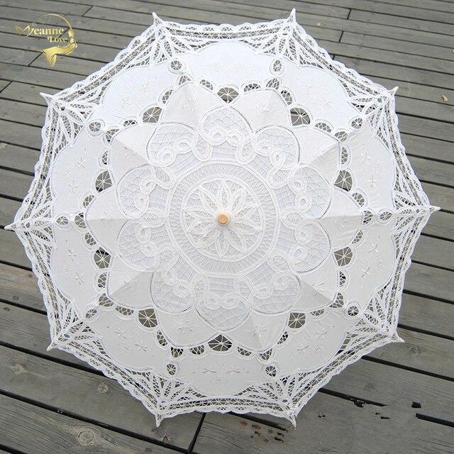Moda Sol algodón paraguas Bordado novia paraguas blanco marfil ...