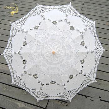 Nowy Parasol słoneczny bawełniana haftowana parasolka dla nowożeńców biała kość słoniowa Battenburg koronkowy Parasol Parasol dekoracyjny Parasol na ślub tanie i dobre opinie Jeanne Love COTTON Bridal parasol 66cm 76cm 200g BU99027 OEM SERVICE ACCEPT WHITE IVORY