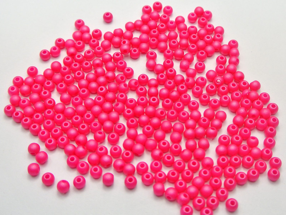 """0.16/"""" Spacer 1000 Matte Neon Pink Color Acrylic Round Seed Beads 4mm"""