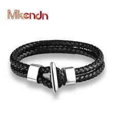 MKENDN FASHION Men Hand Bracelet Multilayer Black Leather Weave Bracelet Stainless Steel Buckle Bracelet Trendy Man Jewelry